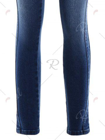Discount Pockets Slim Fitted Pencil Jeans - M DEEP BLUE Mobile