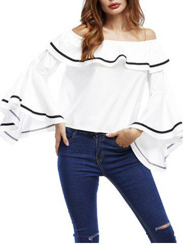 Ruffle Bell Sleeve Off The Shoulder Blouse - White - S