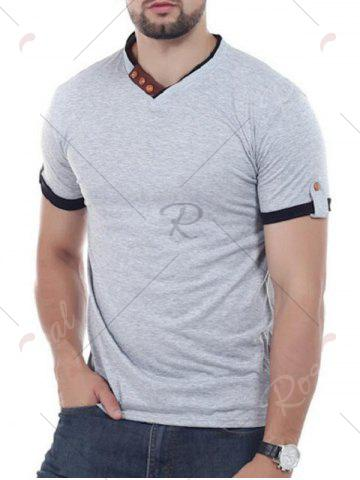 Sale V Neck Button Embellish Short Sleeves T-shirt - 2XL GRAY Mobile