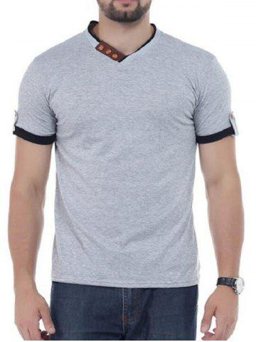 Shops V Neck Button Embellish Short Sleeves T-shirt - 2XL GRAY Mobile