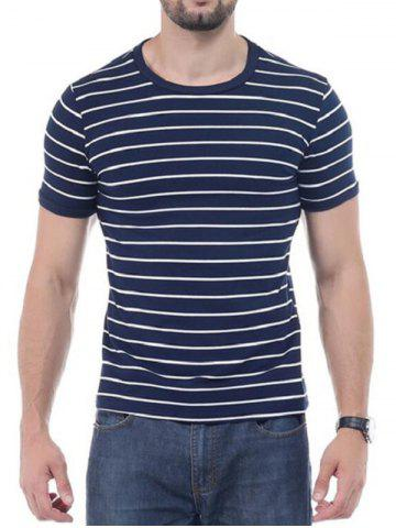 Cheap Striped Short Sleeves T-shirt - 3XL CADETBLUE Mobile