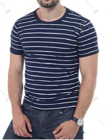 Outfits Striped Short Sleeves T-shirt - 3XL CADETBLUE Mobile