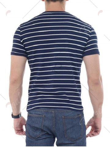 Affordable Striped Short Sleeves T-shirt - 5XL CADETBLUE Mobile