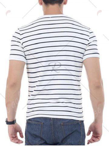 Affordable Striped Short Sleeves T-shirt - 4XL WHITE Mobile