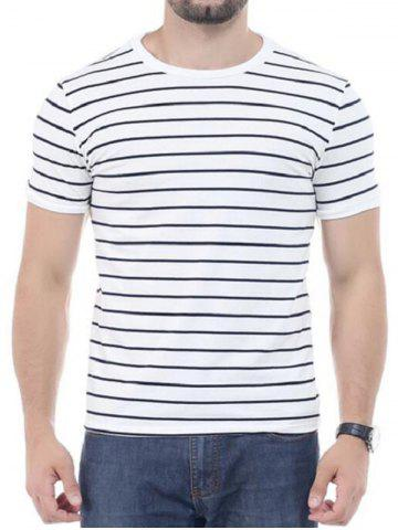 Sale Striped Short Sleeves T-shirt - 3XL WHITE Mobile