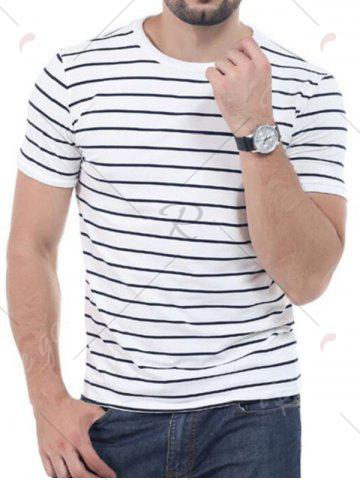 Chic Striped Short Sleeves T-shirt - 3XL WHITE Mobile