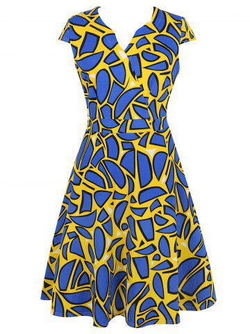 Geometric Print V Neck Fit and Flare Dress - Yellow - 2xl