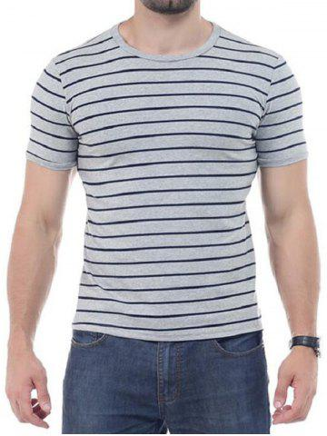 Latest Striped Short Sleeves T-shirt - 4XL GRAY Mobile