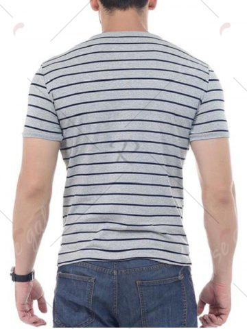 Hot Striped Short Sleeves T-shirt - 4XL GRAY Mobile