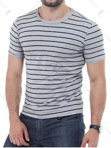 Buy Striped Short Sleeves T-shirt - 4XL GRAY Mobile