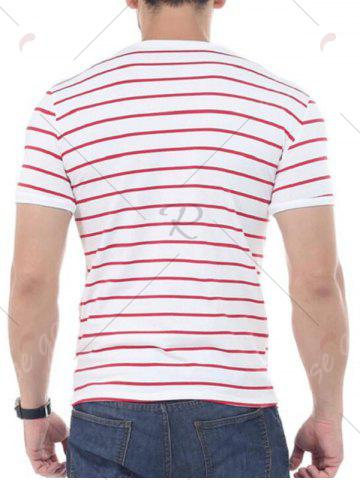 Discount Striped Short Sleeves T-shirt - 4XL RED Mobile