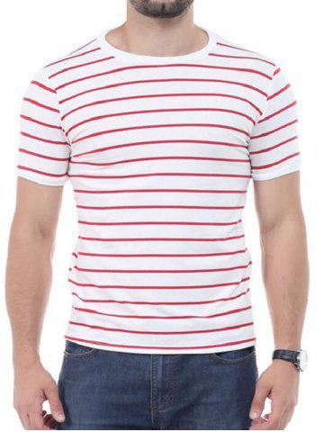 Fashion Striped Short Sleeves T-shirt - XL RED Mobile