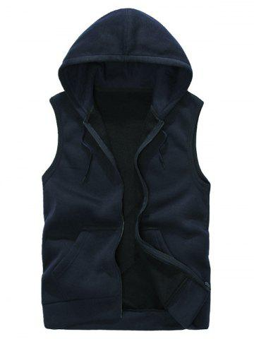 Hooded Zip Up Rib Panel Fleece Waistcoat - Cadetblue - S