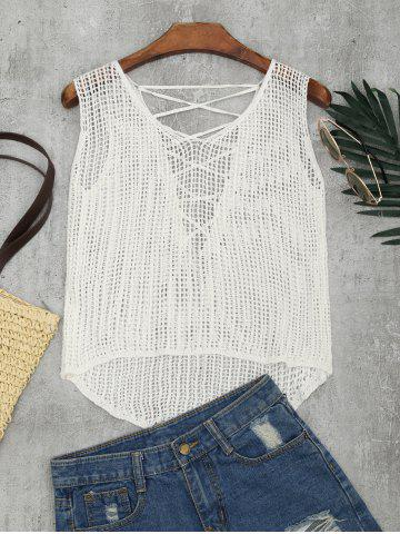 Trendy Lace-up Crochet Tank Top WHITE ONE SIZE