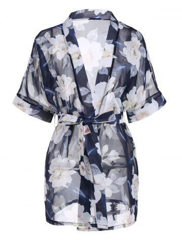 Sale Floral Chiffon Sheer Robe with Belt