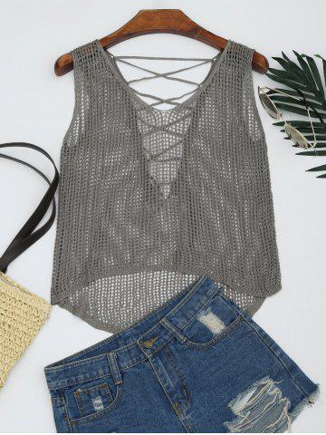 Shops Lace-up Crochet Tank Top - ONE SIZE SMOKY GRAY Mobile