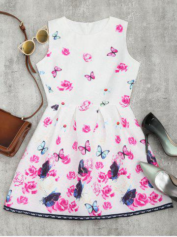 Fashion Butterfly Floral Print Flared Mini Dress - L WHITE Mobile