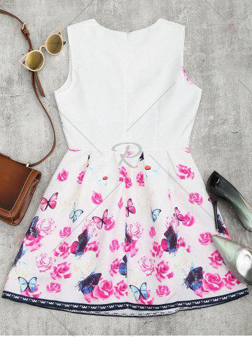 Shops Butterfly Floral Print Flared Mini Dress - L WHITE Mobile