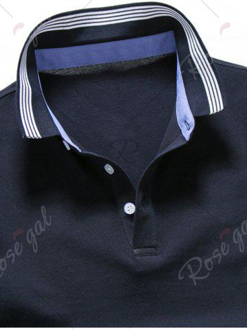 Latest Short Sleeve Striped Trim Golf Shirt - XL PURPLISH BLUE Mobile
