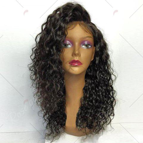Chic Deep Side Part Long Shaggy Curly Lace Front Synthetic Wig - BLACK  Mobile