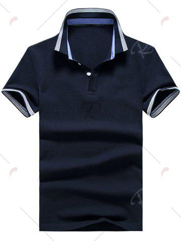 Outfit Short Sleeve Striped Trim Golf Shirt - XL PURPLISH BLUE Mobile
