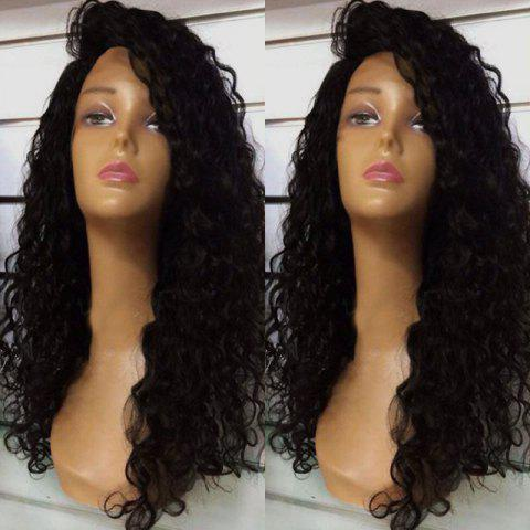 New Deep Side Part Fluffy Long Curly Lace Front Synthetic Wig - BLACK  Mobile