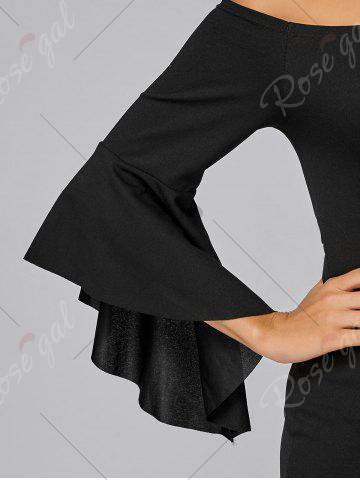 Sale Bell Sleeve Off The Shoulder Bodycon Mini Dress - S BLACK Mobile