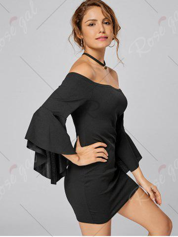Best Bell Sleeve Off The Shoulder Bodycon Mini Dress - S BLACK Mobile
