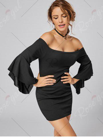 New Bell Sleeve Off The Shoulder Bodycon Mini Dress - S BLACK Mobile