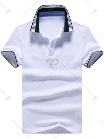 Outfits Short Sleeve Striped Trim Golf Shirt - XL WHITE Mobile