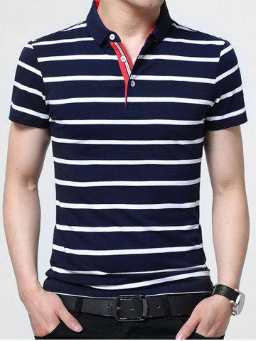 Sale Half Button Stripe Golf Shirt - 3XL PURPLISH BLUE Mobile