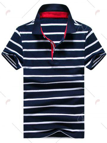 Best Half Button Stripe Golf Shirt - 2XL PURPLISH BLUE Mobile