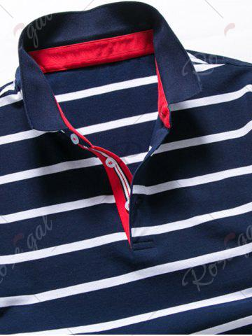 Shops Half Button Stripe Golf Shirt - 2XL PURPLISH BLUE Mobile