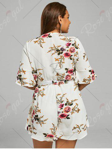 New Belted Plus Size Floral Chiffon Dressy Romper - 5XL LIGHT BEIGE Mobile