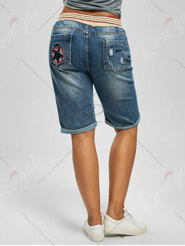 Cheap Plus Size Denim Ripped Shorts - 5XL DENIM BLUE Mobile