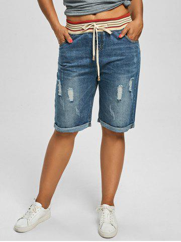 Best Plus Size Denim Ripped Shorts - 5XL DENIM BLUE Mobile