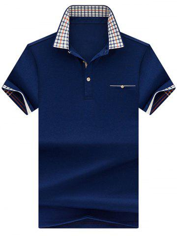 Cheap Chest Pocket Checked Collar Polo Shirt - 3XL ROYAL Mobile