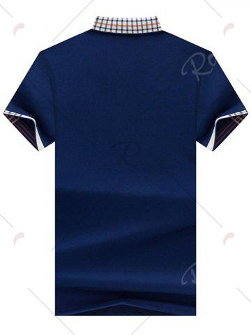 Trendy Chest Pocket Checked Collar Polo Shirt - L ROYAL Mobile