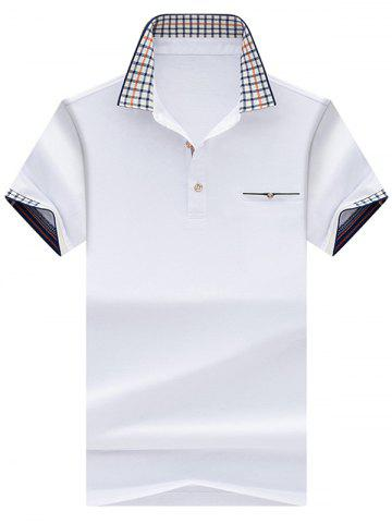 Online Chest Pocket Checked Collar Polo Shirt - XL WHITE Mobile
