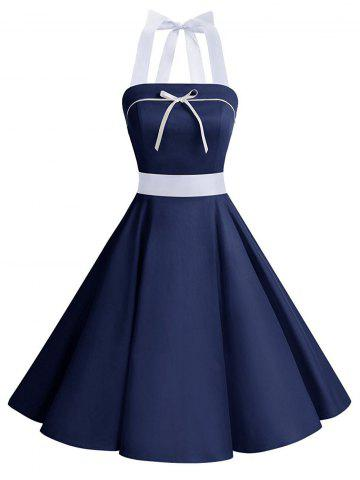 Lace Up Bowknot Halter Pin Up Dress Bleu Foncé M