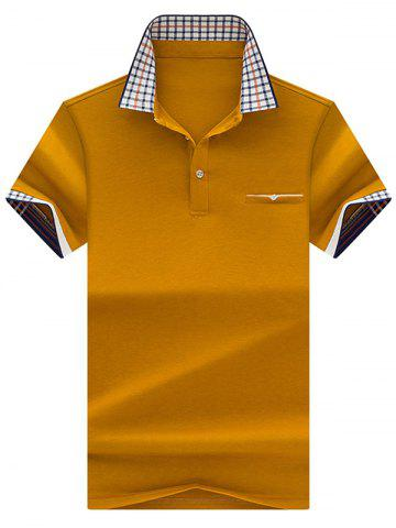 Cheap Chest Pocket Checked Collar Polo Shirt - XL GINGER Mobile