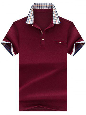 Fashion Chest Pocket Checked Collar Polo Shirt - 3XL CLARET Mobile