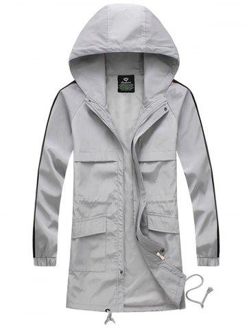 Shop Drawstring Hooded Side Stripe Zip Up Polyester Coat GRAY XL