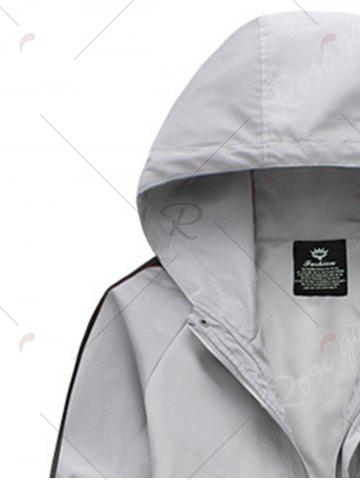 Chic Drawstring Hooded Side Stripe Zip Up Polyester Coat - L GRAY Mobile