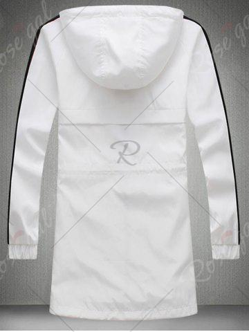 Unique Drawstring Hooded Side Stripe Zip Up Polyester Coat - M WHITE Mobile