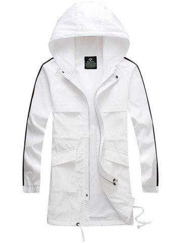New Drawstring Hooded Side Stripe Zip Up Polyester Coat WHITE L