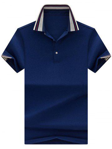 Outfits Half Button Striped Collar Golf Shirt - XL ROYAL Mobile