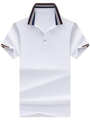Outfits Half Button Striped Collar Golf Shirt - 3XL WHITE Mobile