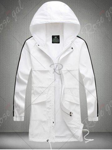 Outfit Drawstring Hooded Side Stripe Zip Up Polyester Coat - 3XL WHITE Mobile
