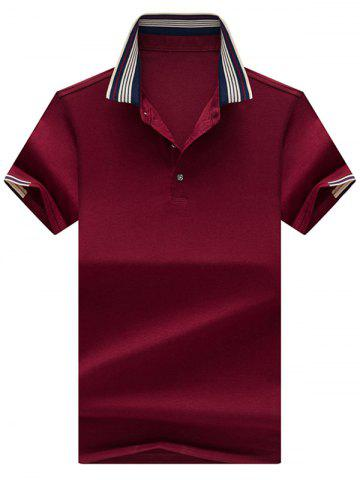 Sale Half Button Striped Collar Golf Shirt - L CLARET Mobile